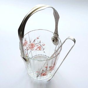 Vintage Floral Sugarcube Glass with Tongs
